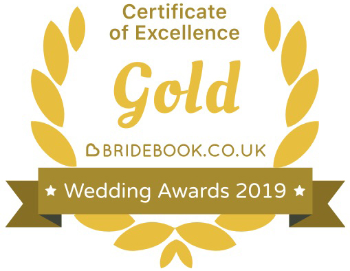 Bridebook.co.uk's wedding cerificate of excellence gold logo