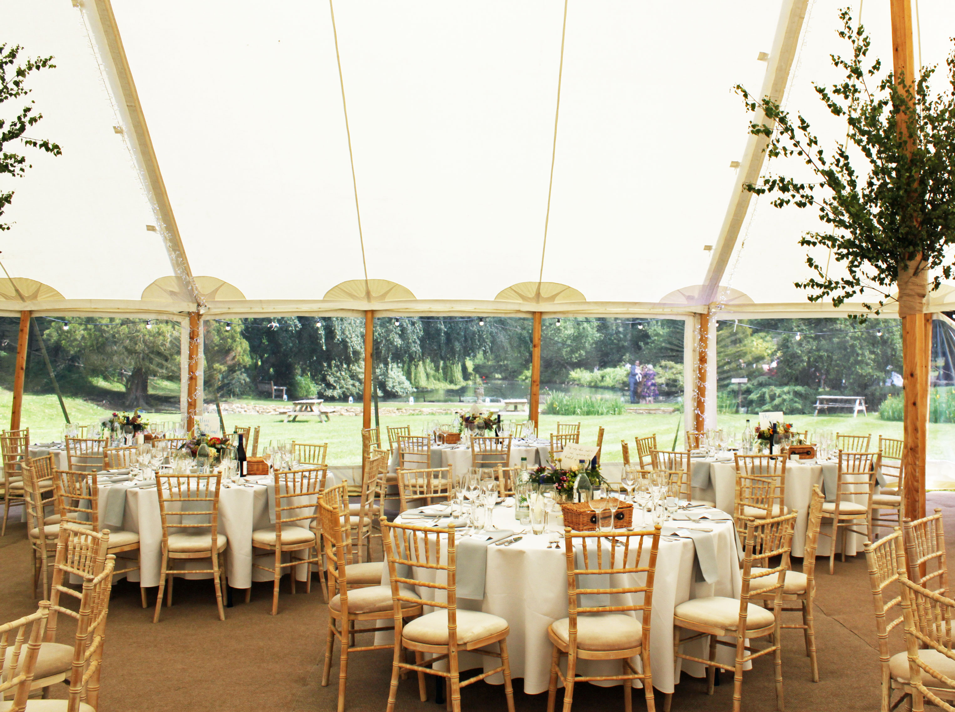 Round tables with white tablecloths and silver birch sprigs on the poles inside a 80 x 40 foot traditional canvas pole tent marquee